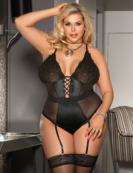 Black Deluxe Satin Lace Stitching Bodysuit - Plus Size