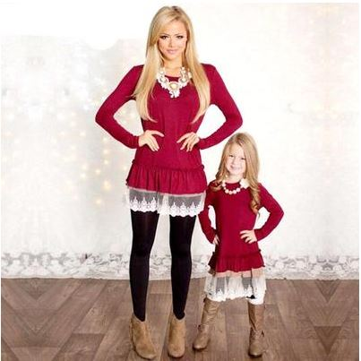 Red Patchwork Long Sleeve Mommy and Me Fashion Dresses Matching Outfit