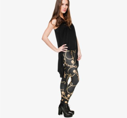 Sexy Ladies Gold Chains Printed Fitness Leggings