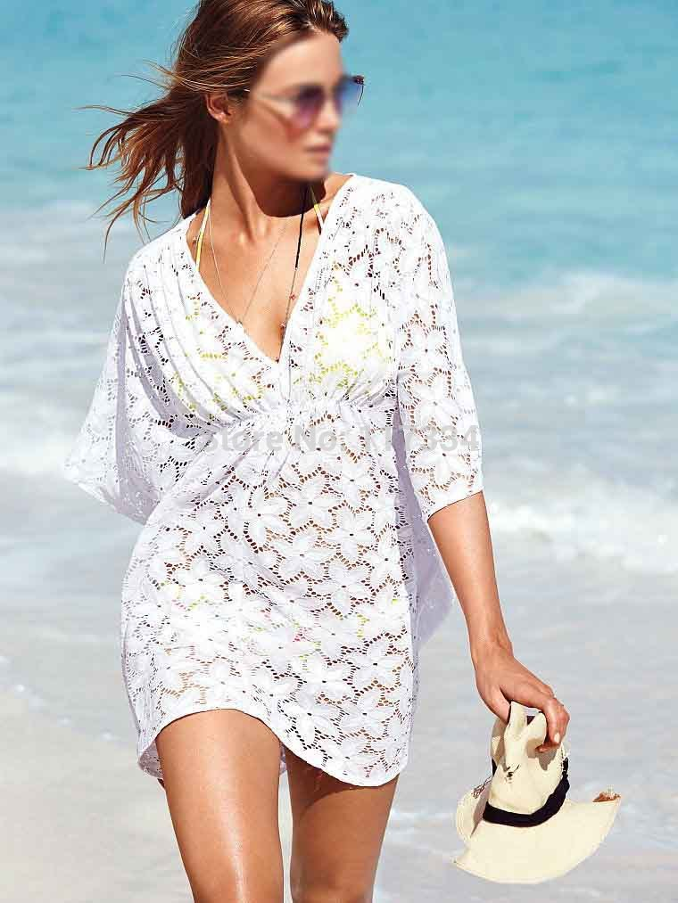 Sexy Pareo Mesh Beach Dress Tunic Robe Beach Cover-up
