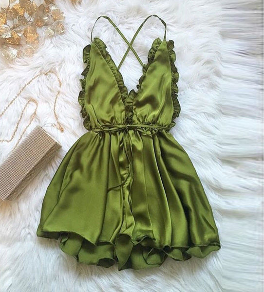 Sleepwear Style Rompers V-Neck Playsuit Nightgowns