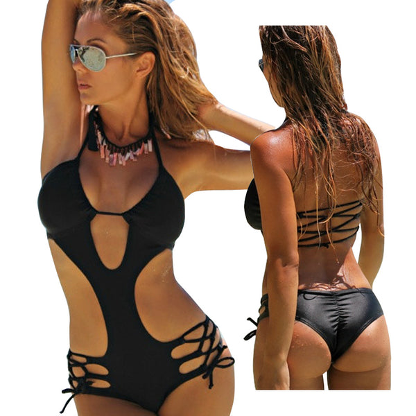 Padded High Cut Out Monokini Trikini Beachwear