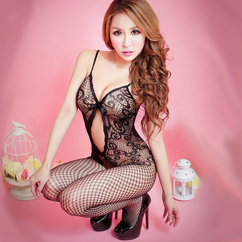 Sexy Crotchless Fish Net Body Stocking, Bodysuit Lingerie Nightwear