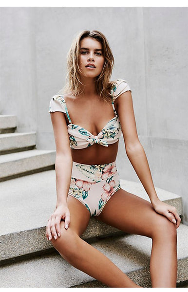 Retro Sexy Polka Dot Floral Print Swimsuit