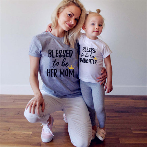 Blessed To Be Her Mom Daughter Print Family Matching Casual T-shirt Tops