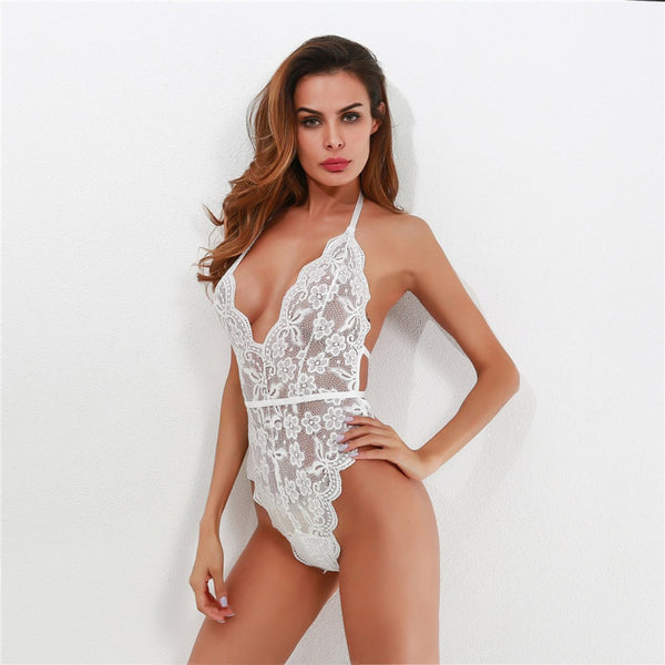 Hot Deep V Mesh Lace Bodysuit