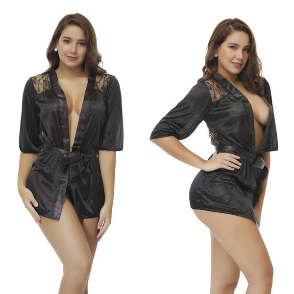 Hot Sexy Plus Size Satin Lace Black Robe Night Gown Sleepwear