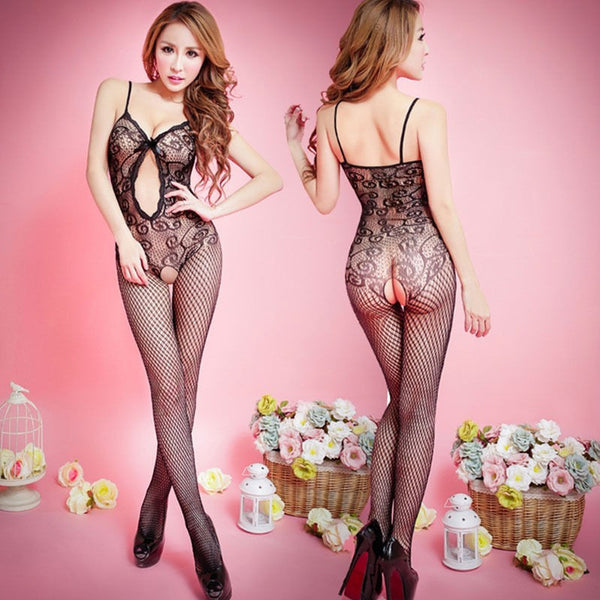 Sexy Black Crotchless Fish Net Body Stocking, Bodysuit Lingerie Nightwear