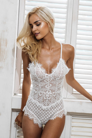 Sexy Lace Bodysuit, Hollow Out Jumpsuit