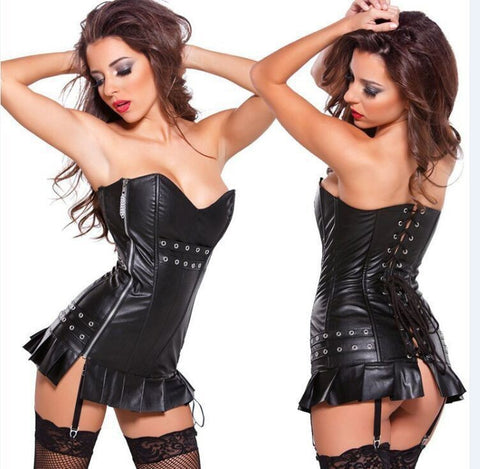 Exotic Faux Leather Lace Up Body Suit