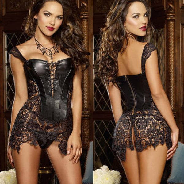 Leather Corset Waist Body Shaper, Steel Boned Steampunk