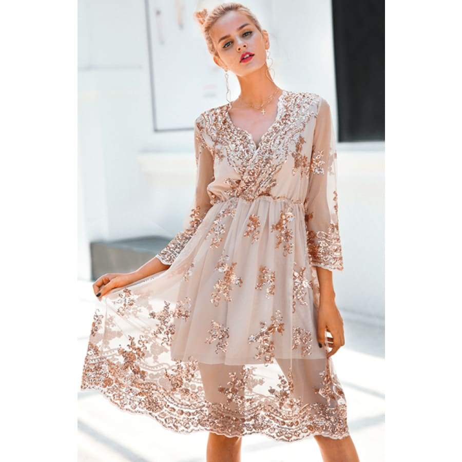 Gorgeous V Neck Long Sleeve Sequin Party Autumn Dress