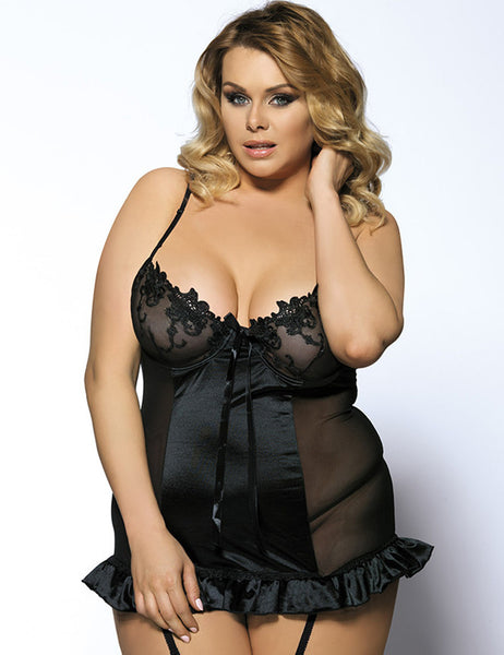 Sexy Babydoll Lace Solid Ruffles for Plus Size Women