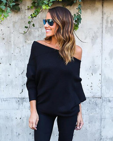 Sexy Autumn Tops Series Off Shoulder Knitted Thin Autumn Sweater