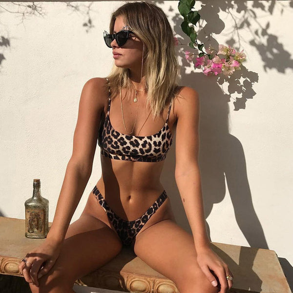 Sexy Leopard Micro Push Up Thong High Cut Bikini Set