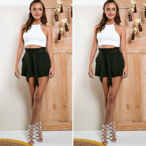 Hot Selling High Waist Casual Shorts Pocket Design With Belt