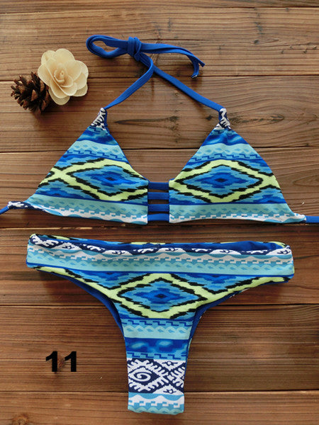 Amazing Designs And Colors - Sexy Bandeau Bikini Reversible Print Swimsuit