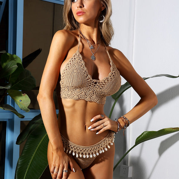 Women Shells Tassel Sexy Bikinis Knitted Crochet Swimsuit
