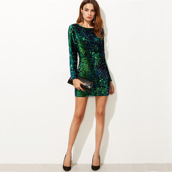 Elegant Sexy Korean Style Brand Green Iridescent Sequin Dress