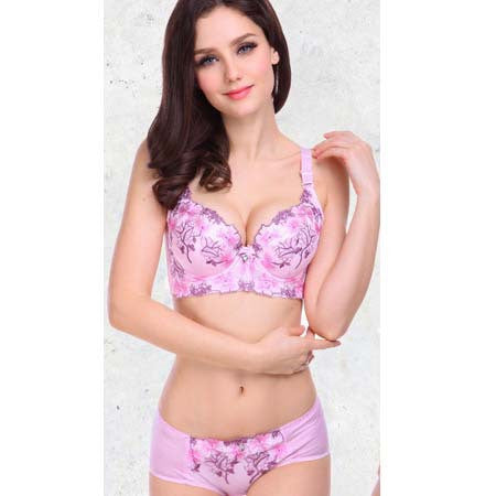 Sexy Big Size Floral Embroidery Lace Push Up Bra Set