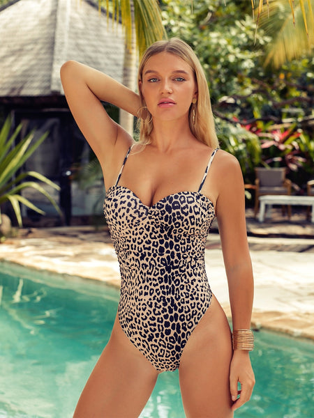 One-Piece Swimsuit Women's Leopard Bathing Suits