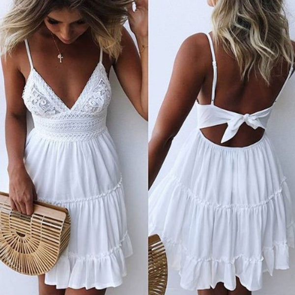 Sexy Bow Backless V-neck Mini Beach