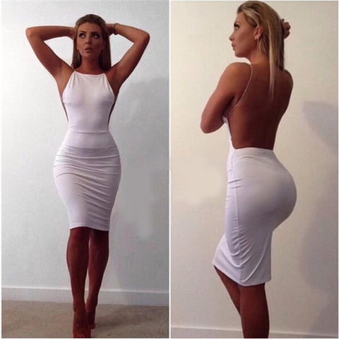 White Sexy Party Dresses Night Club backless Summer Dress