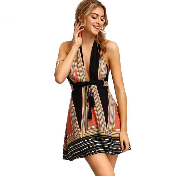 Multicolor Summer Vintage Backless Halter Dress With Tassel Tie