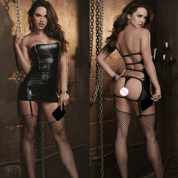 Erotic Sexy Leather Dress Backless Female Bodysuit