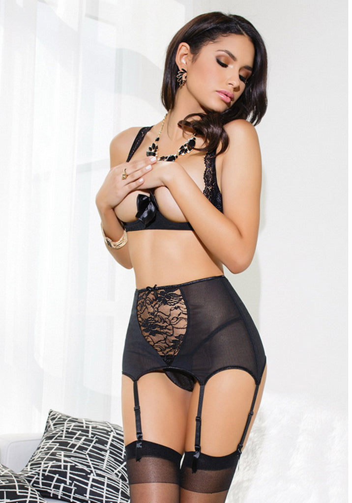 Open Bra with G-string Black Lingerie