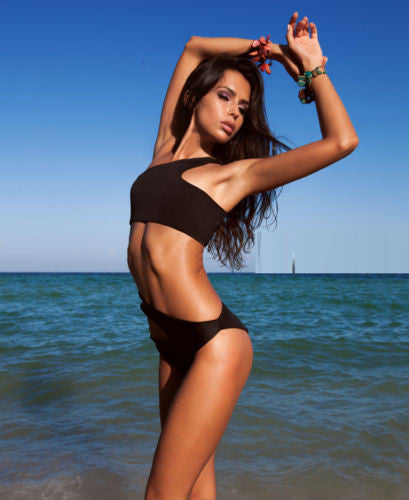 NEW Black Cut Out Monokini One Piece Swimsuit