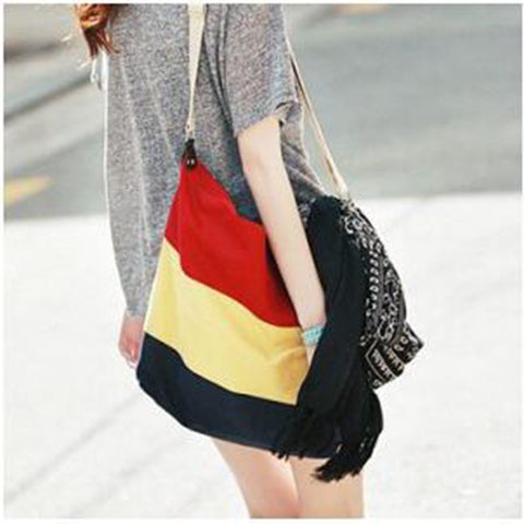 Colorful Women Beach Canvas Fashion Stripes Beach Bags