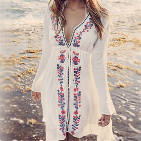 Embroidery Vintage Swimwear Kaftan Beach Dress / Cover Up
