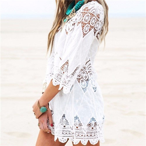 White Beach Cover up Rayon, Swimwear Dress