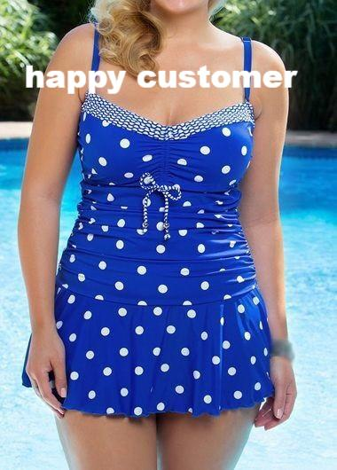 NEW Gorgeous Dots Print Vintage Retro Bathing Suit (Plus Size)
