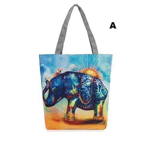 Cartoon Elephant Printed Casual Tote Canvas Handbag/Beachbag