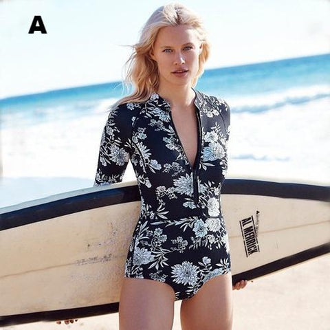 Newest Style Floral Print Retro One-Piece Surfing Swimsuit