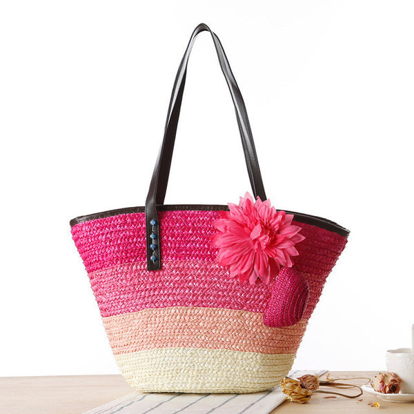 Knitted Straw Summer Flower Bohemia Fashion Beach/Hand Bag