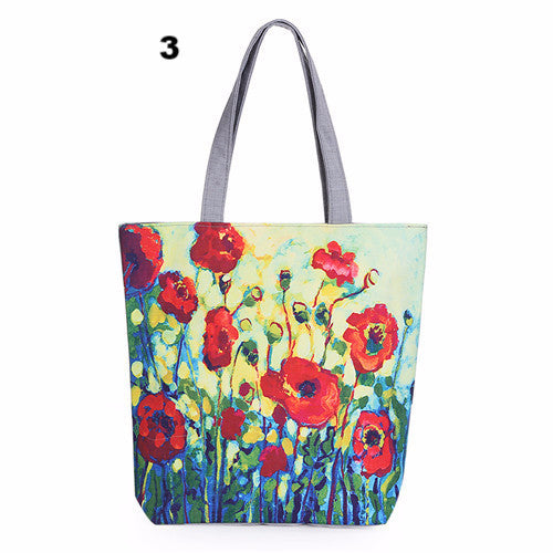 Colorful Floral Printed Canvas Tote Single Shopping Bags