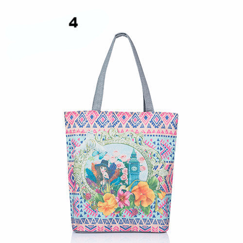 Cartoon Owl Print Casual Tote Lady Canvas Beach Bag