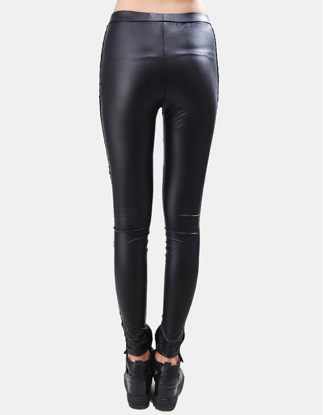 Black Punk PU Leather Stitching Embroidery Lace Legging