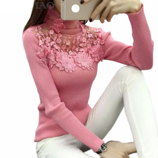 NEW ARRIVAL! Fabulous High Elastic Knitted Lace Patchwork Long Sleeve/Sweater