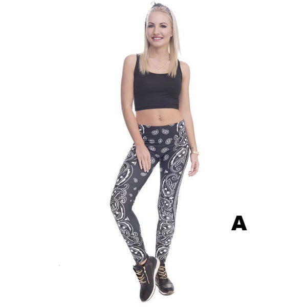 High Elasticity Bandana Printed Slim Workout Legging