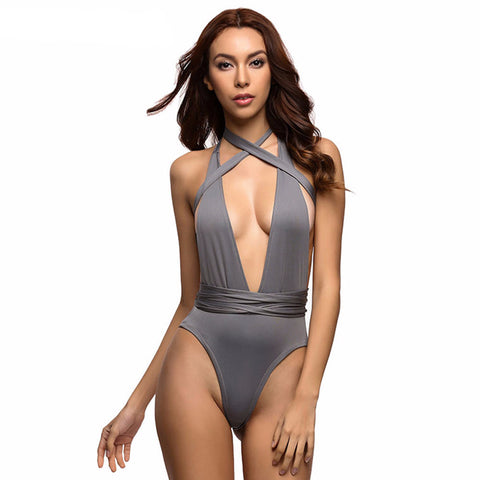 Sexy Deep V Neck Wrap Around High Waist One Piece Swimsuit