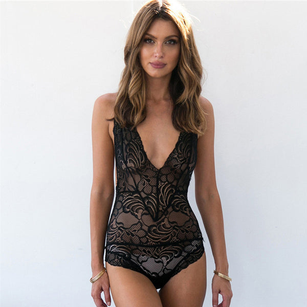 Sexy Backless Lace Leotard Bodysuit Nightwear