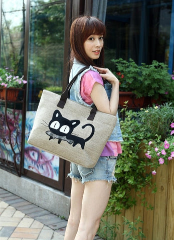 Awesome Cute Embroidery Cat Cartoon Cotton Beach Bag