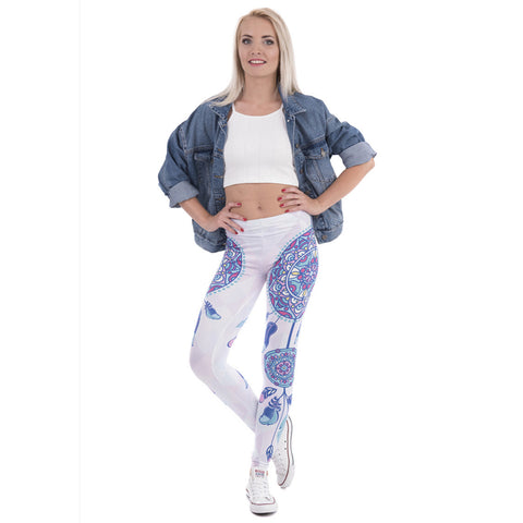 Sexy Slim Stretch Mandala Feathers Printed Leggings