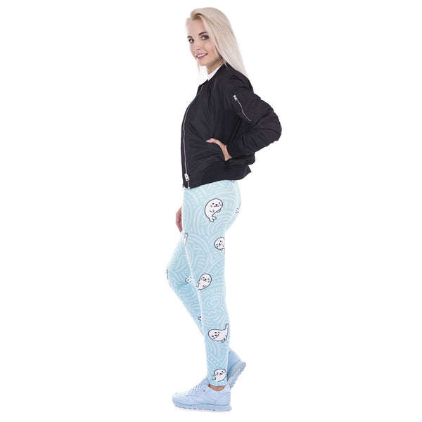 Lovely White Seal Print High Elasticity Trousers