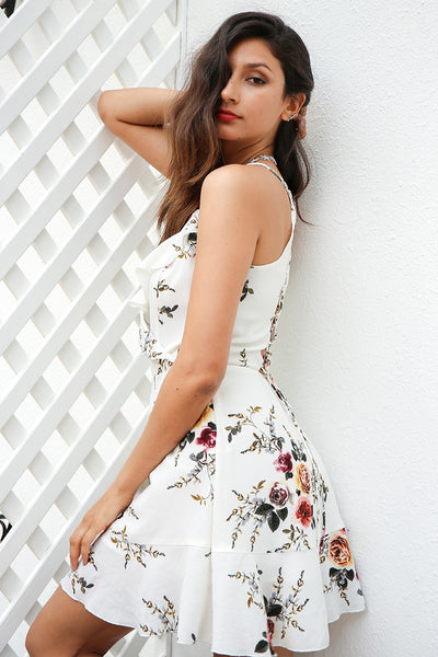 Deep V Neck  Strappy Back Ruffles Sexy Summer Dress