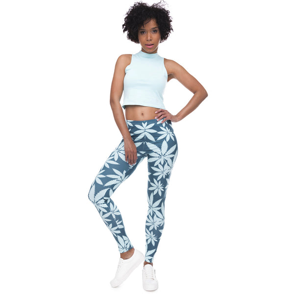 Mint Weed Printing Fitness Leggings